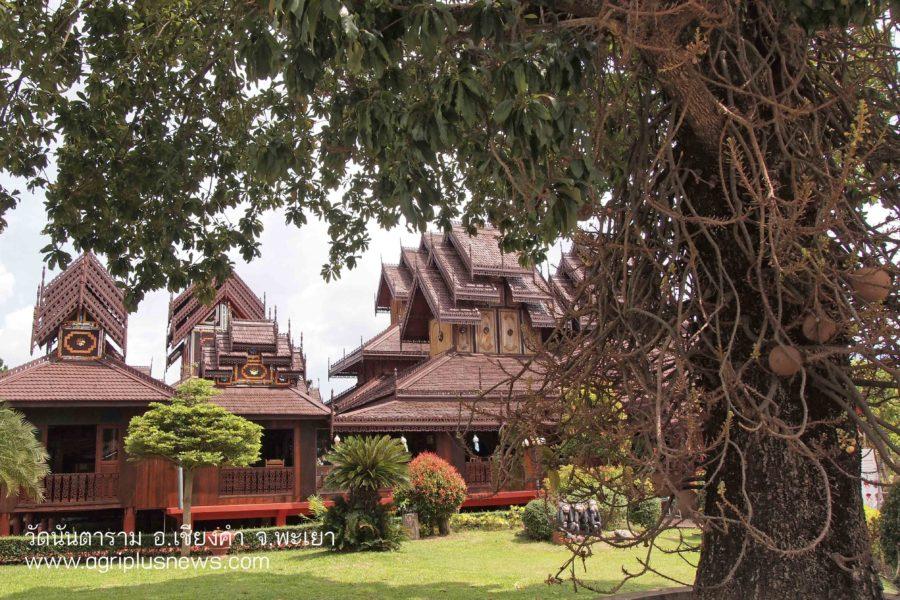 บรรยากาศ วัดนันตาราม วัดไม้สักทองศิลปะไทยใหญ่ แหล่งท่องเที่ยวเชียงคำ พะเยา